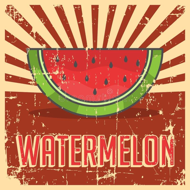 Vektor för Signage för vattenmelontappning Retro royaltyfri illustrationer