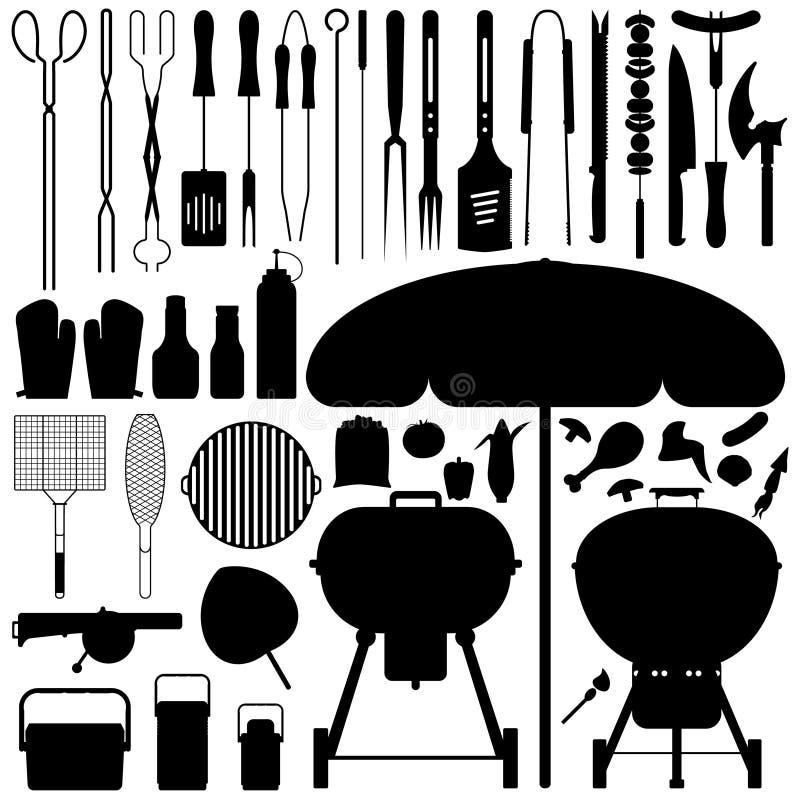 vektor för silhouette för grillfestbbq set stock illustrationer