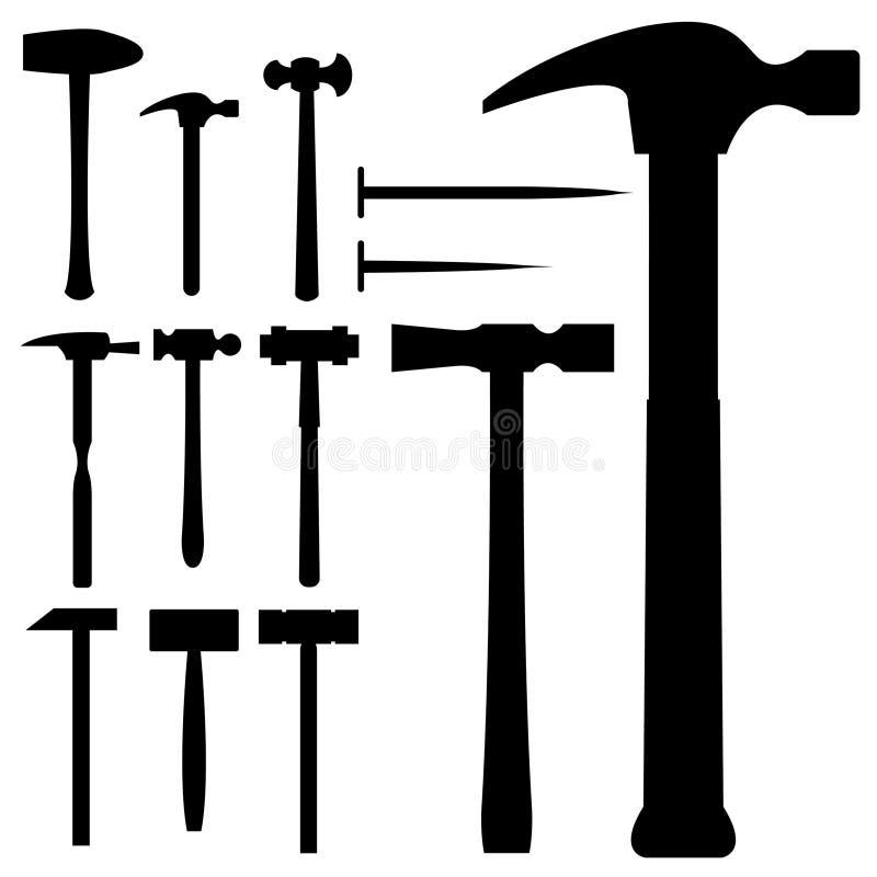 vektor för silhouette för hammaremallet set royaltyfri illustrationer