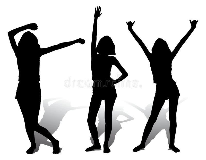 vektor för silhouette tre för flicka lycklig stock illustrationer