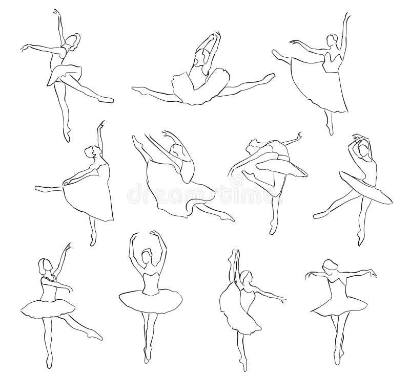 vektor för silhouettes för balettdansörillustration set stock illustrationer