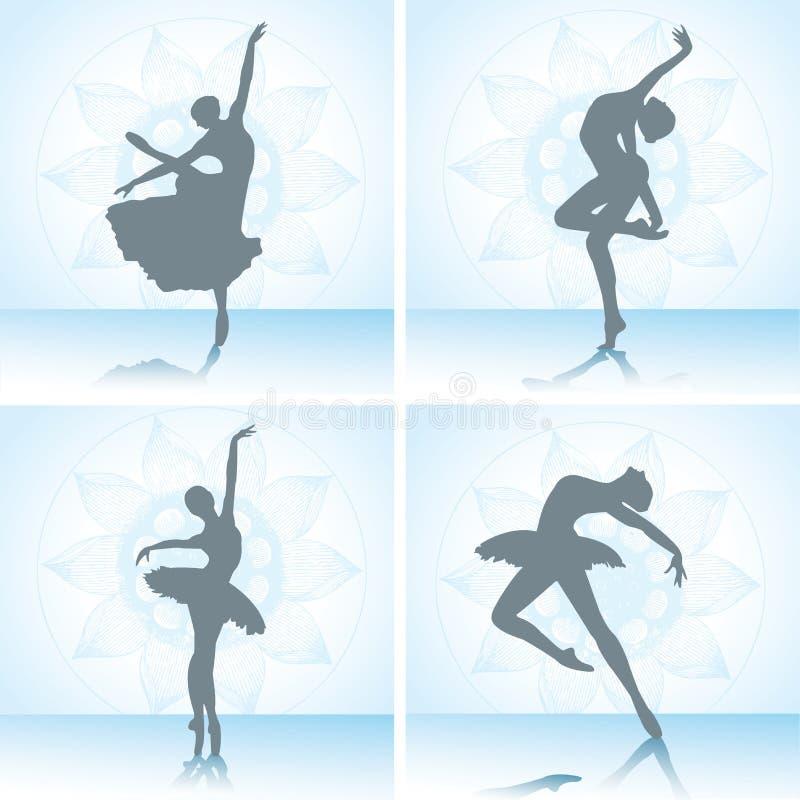 vektor för silhouettes för balettdansörillustration set också vektor för coreldrawillustration vektor illustrationer