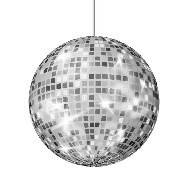 Vektor för silverdiskoboll Ljus för klassiker för parti för dansnattklubb Retro royaltyfri illustrationer