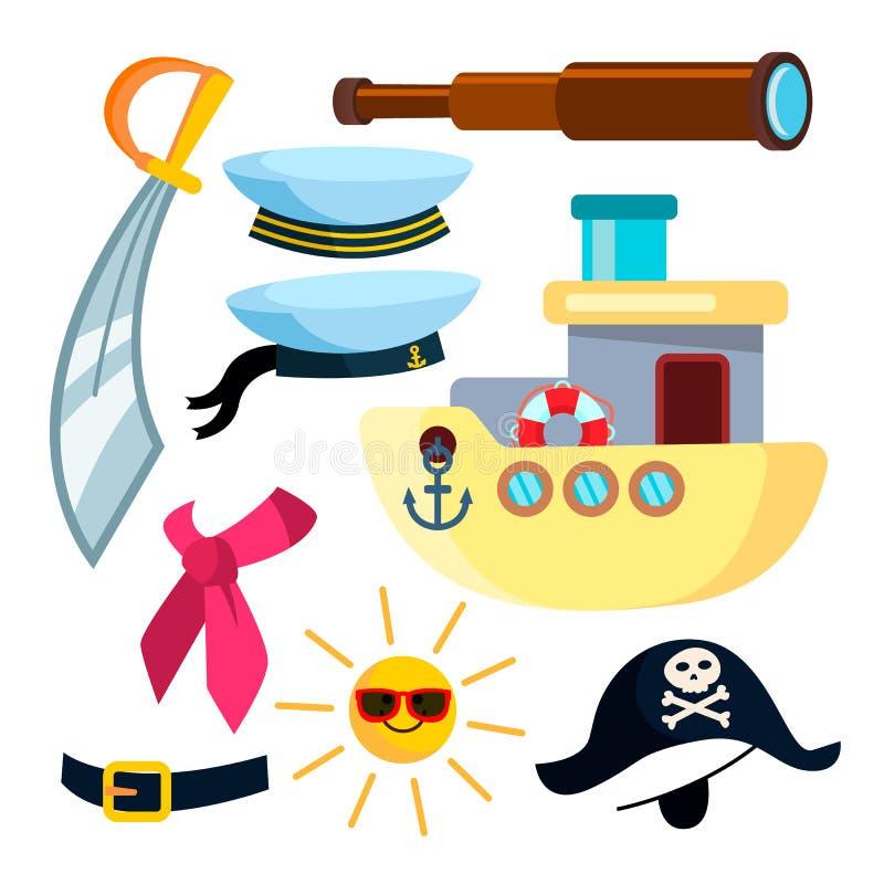 Vektor för sjömanIcons Pirate Ship hav Isolerad plan tecknad filmillustration stock illustrationer