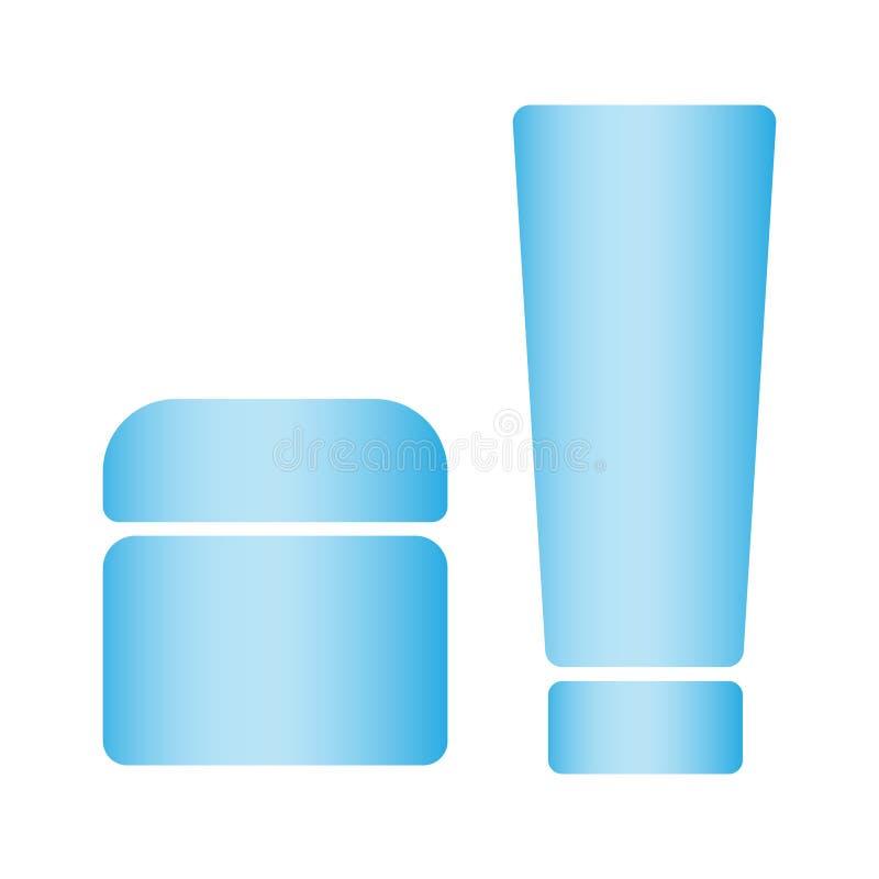 Vektor för skönhetsmedelflaskprodukt Uppsättning av kosmetiska produkter på en vit bakgrund Kosmetisk packesamling för kräm vektor illustrationer