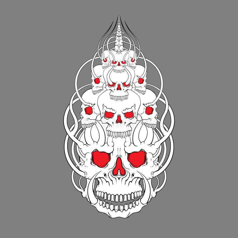 Vektor för skalleframsidaillustration, mystik, tatuering Handgjort pri stock illustrationer