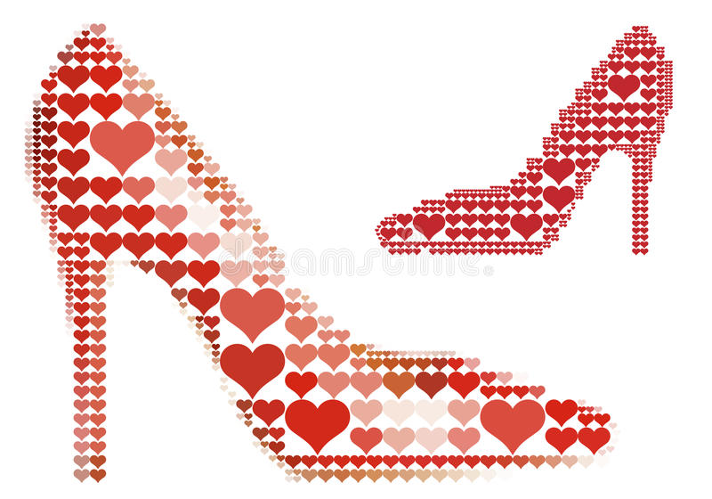 vektor för sko för hjärtamodell röd vektor illustrationer