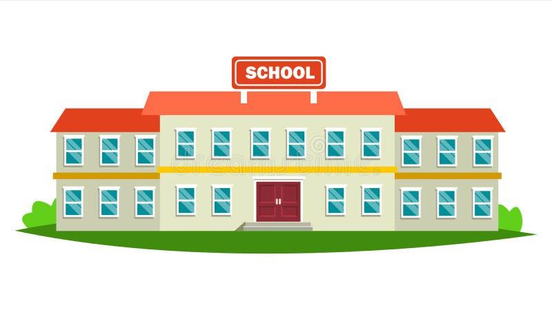 Vektor för skolabyggnad Modern utbildningsstadskonstruktion stads- tecken Stilsortsgård Isolerad plan tecknad filmillustration vektor illustrationer