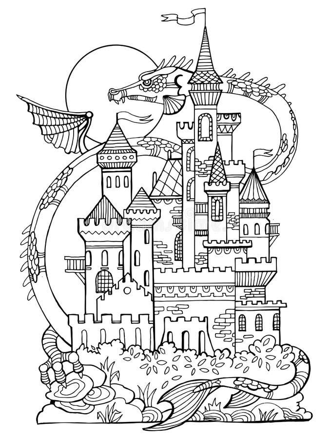 Vektor för slott- och drakefärgläggningbok royaltyfri illustrationer