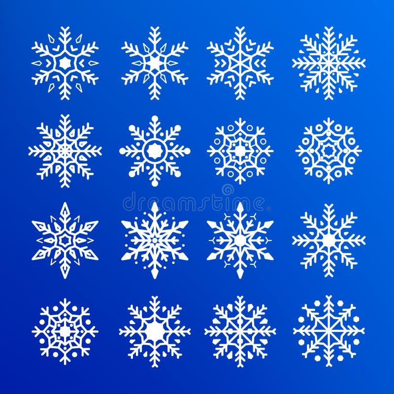 vektor för snowflake för bakgrundsblue set Abstrakt samling av vita snöflingor För designgarnering för nytt år och julbeståndsdel vektor illustrationer