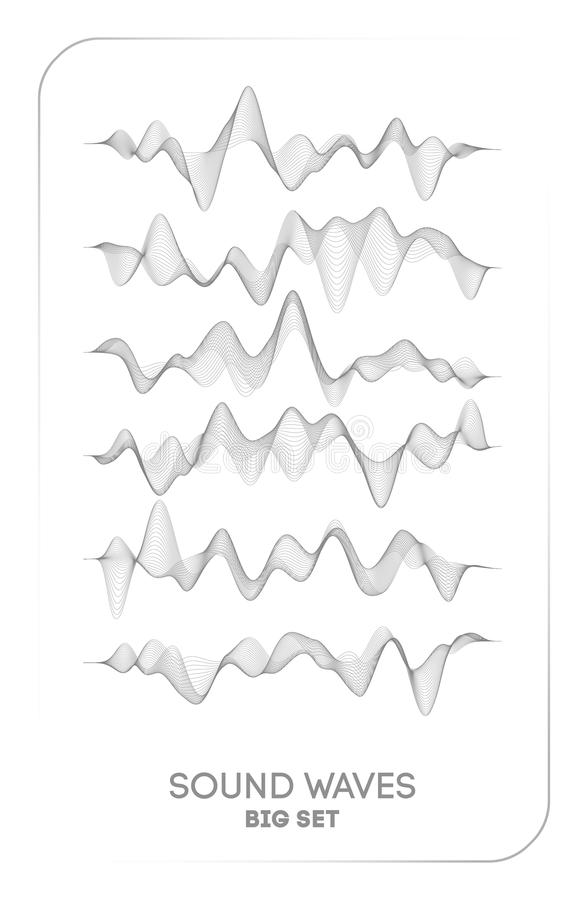 Vektor för solid våg Vibration för vektormusikstämma, digitalt spektrum för sångwaveform, ljudsignal puls och waveformfrekvens vektor illustrationer
