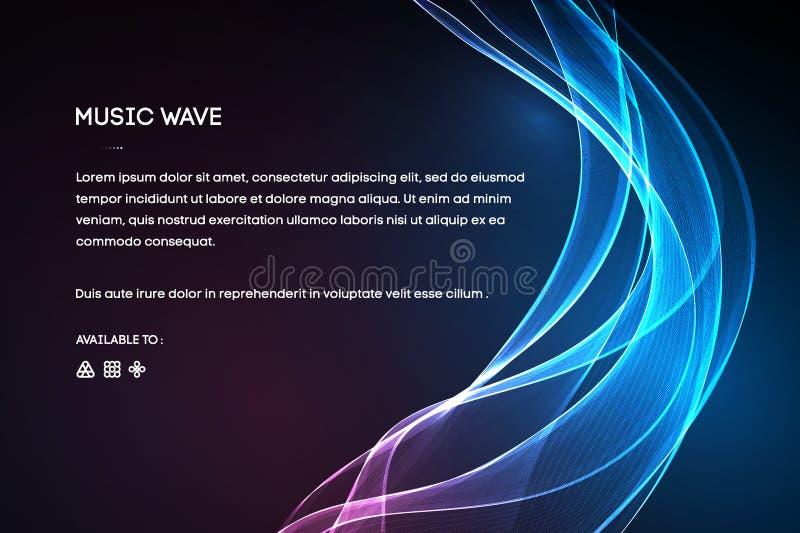 Vektor för solid våg Vibration för vektormusikstämma, digitalt spektrum för sångwaveform, ljudsignal puls och waveformfrekvens stock illustrationer