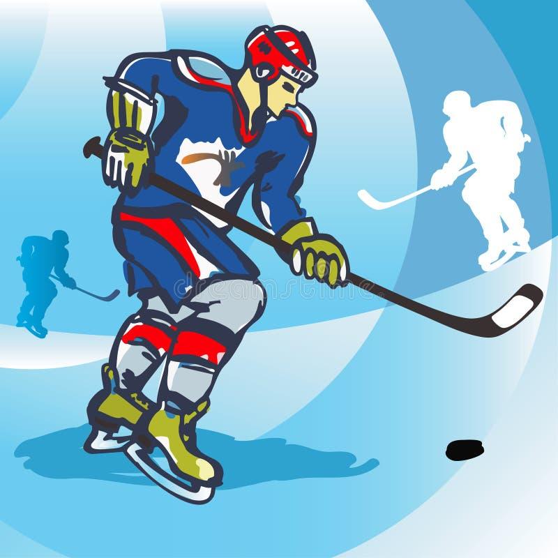 vektor för spelare för hockeyisillustration royaltyfri illustrationer