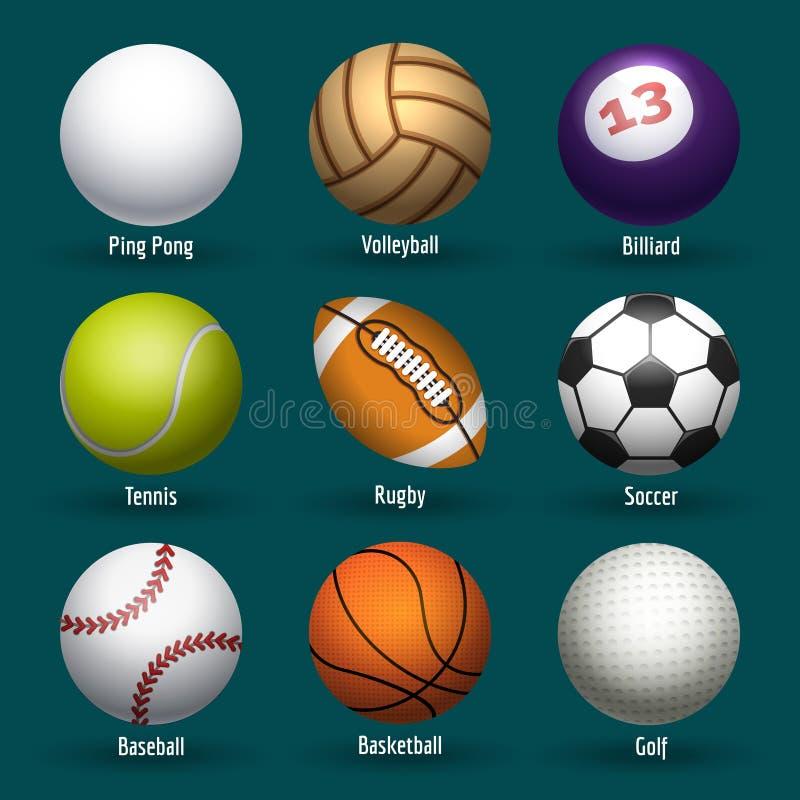vektor för sportar för bollsymbolsillustration royaltyfri illustrationer