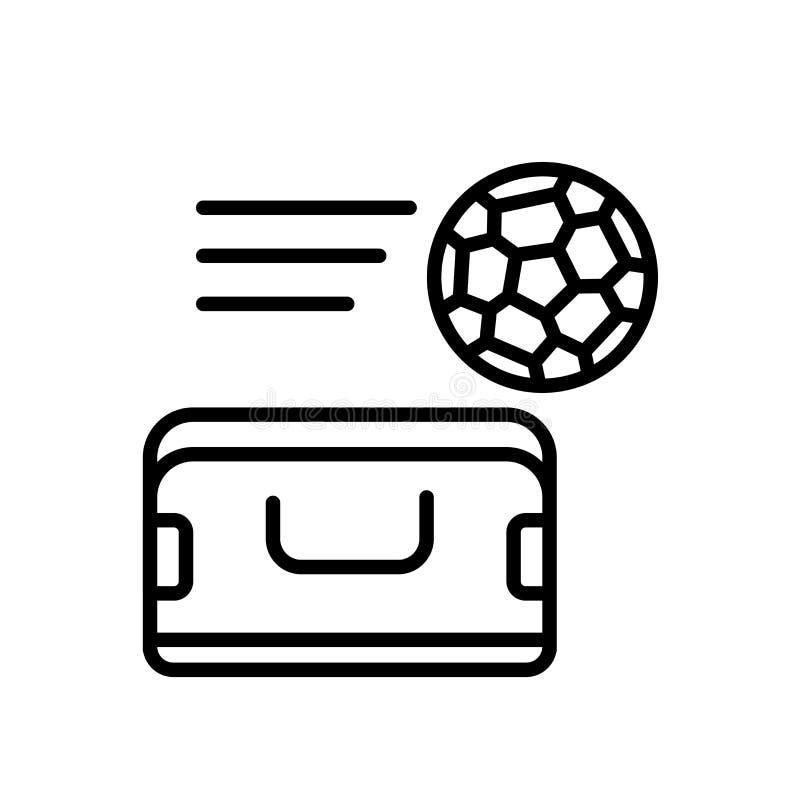 Vektor för sportpåsesymbol som isoleras på det vita bakgrunds-, sportpåsetecknet, linjen eller det linjära tecknet, beståndsdelde royaltyfri illustrationer