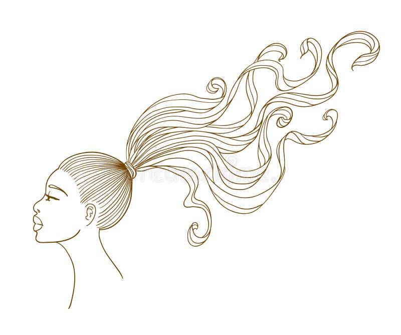vektor för stående för svart flickahår lång vektor illustrationer