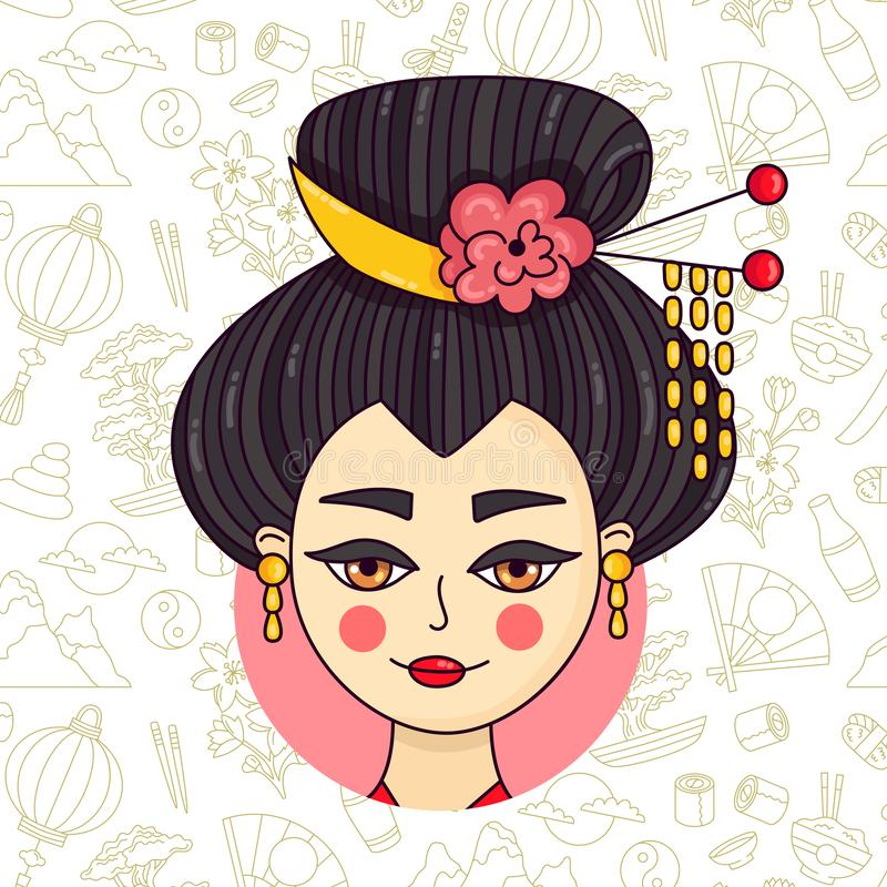 Vektor för stående för GeishaklotterJapan kvinna vektor illustrationer