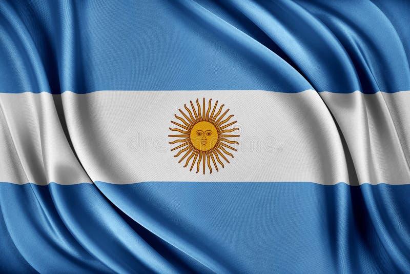 vektor för stil argentina för tillgänglig flagga glass Flagga med en glansig siden- textur vektor illustrationer