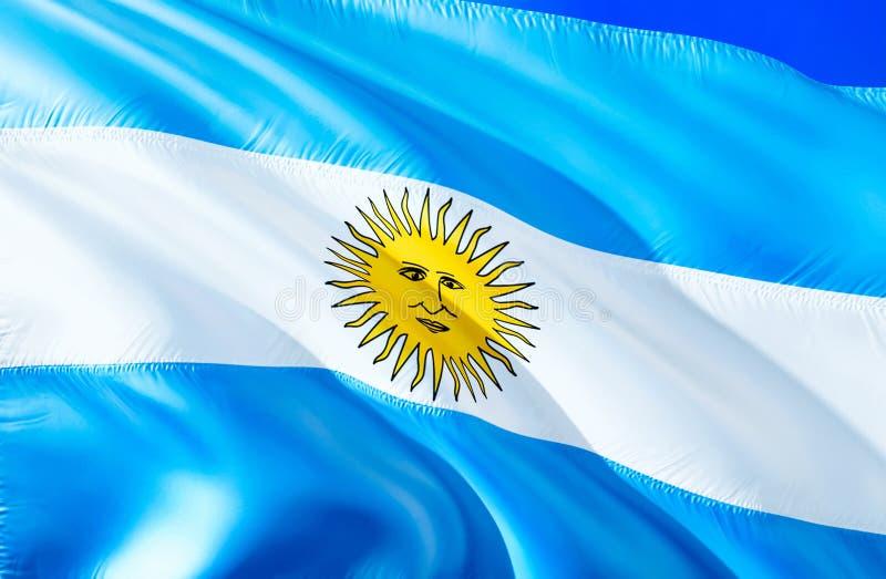 vektor för stil argentina för tillgänglig flagga glass vinkande design för flagga 3D Det nationella symbolet av Argentina, tolkni royaltyfria foton