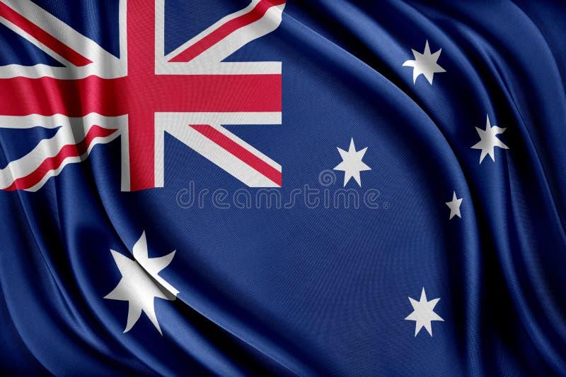 vektor för stil Australien för tillgänglig flagga glass Flagga med en glansig siden- textur royaltyfri illustrationer