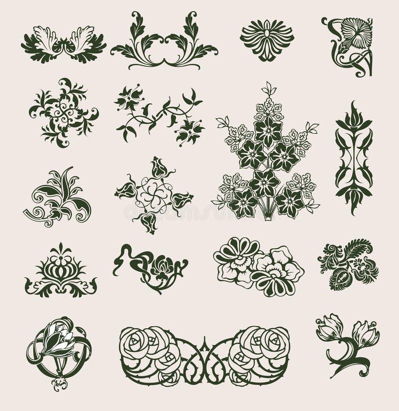 vektor för stil för blommaprydnad set stock illustrationer