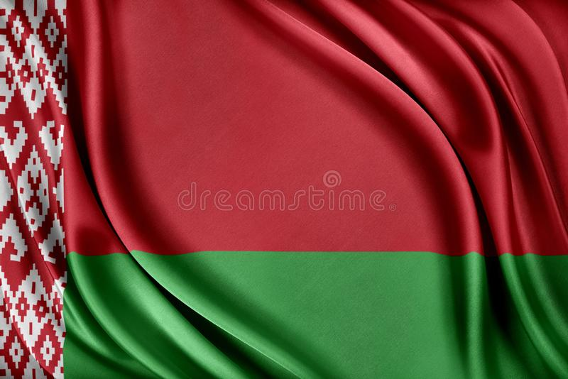 vektor för stil för tillgänglig belarus flagga glass Flagga med en glansig siden- textur stock illustrationer