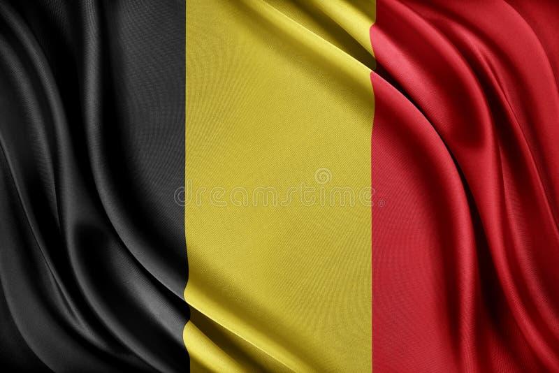vektor för stil för tillgänglig Belgien flagga glass Flagga med en glansig siden- textur stock illustrationer
