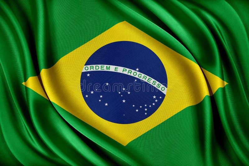 vektor för stil för tillgänglig brazil flagga glass Flagga med en glansig siden- textur royaltyfri illustrationer