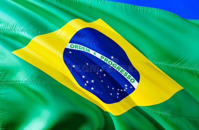 vektor för stil för tillgänglig brazil flagga glass vinkande design för flagga 3D Det nationella symbolet av Brasilien, tolkning  fotografering för bildbyråer