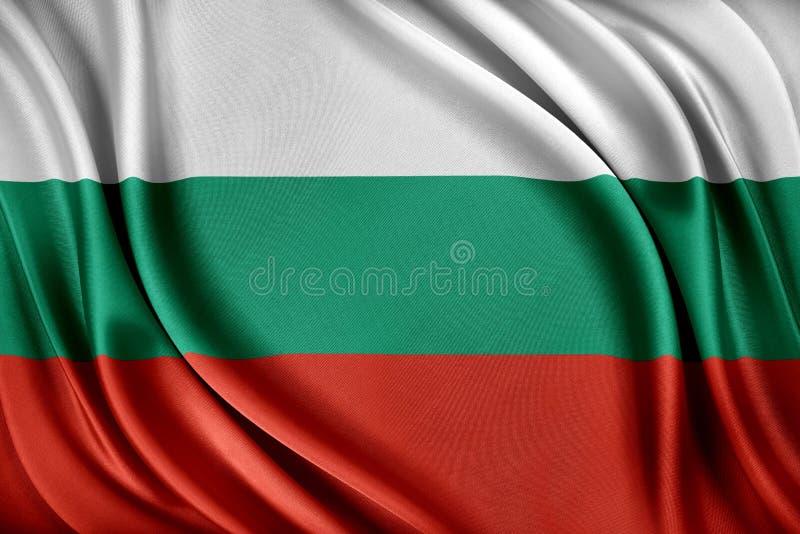 vektor för stil för tillgänglig bulgaria flagga glass Flagga med en glansig siden- textur royaltyfri illustrationer