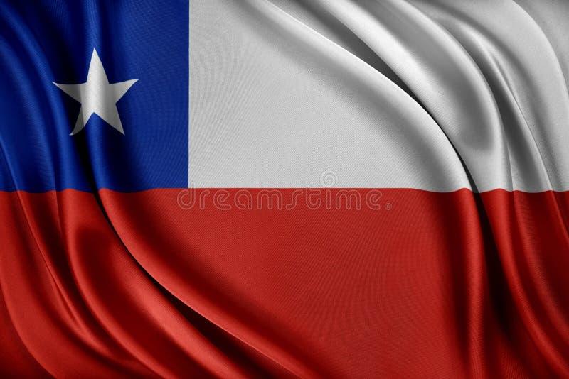 vektor för stil för tillgänglig chile flagga glass Flagga med en glansig siden- textur royaltyfri illustrationer