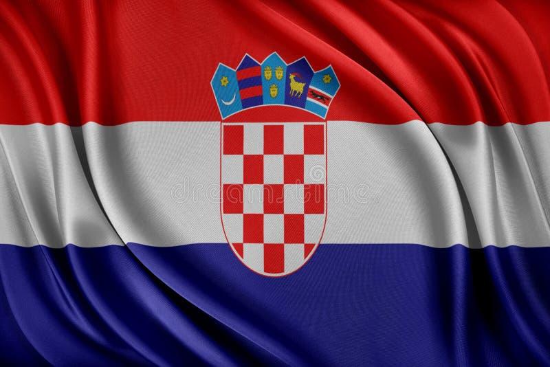 vektor för stil för tillgänglig croatia flagga glass Flagga med en glansig siden- textur stock illustrationer
