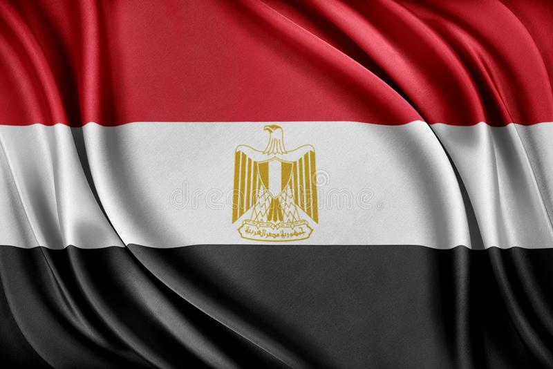 vektor för stil för tillgänglig egypt flagga glass Flagga med en glansig siden- textur royaltyfri illustrationer