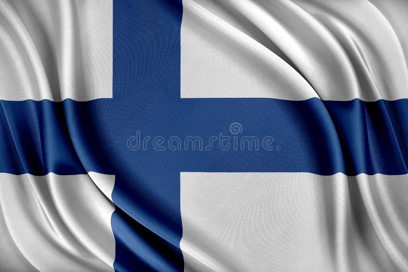 vektor för stil för tillgänglig finland flagga glass Flagga med en glansig siden- textur royaltyfri illustrationer