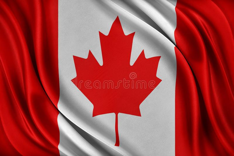 vektor för stil för tillgänglig Kanada flagga glass Flagga med en glansig siden- textur stock illustrationer