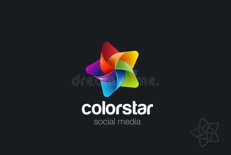 Vektor för stjärnalogodesign Idérik social ledare vektor illustrationer