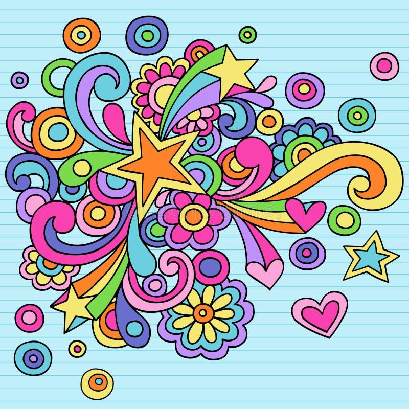 vektor för stjärnor för klotteranteckningsbok psychedelic royaltyfri illustrationer