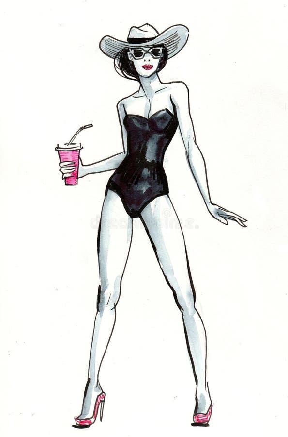 vektor för strandeps-lady royaltyfri illustrationer
