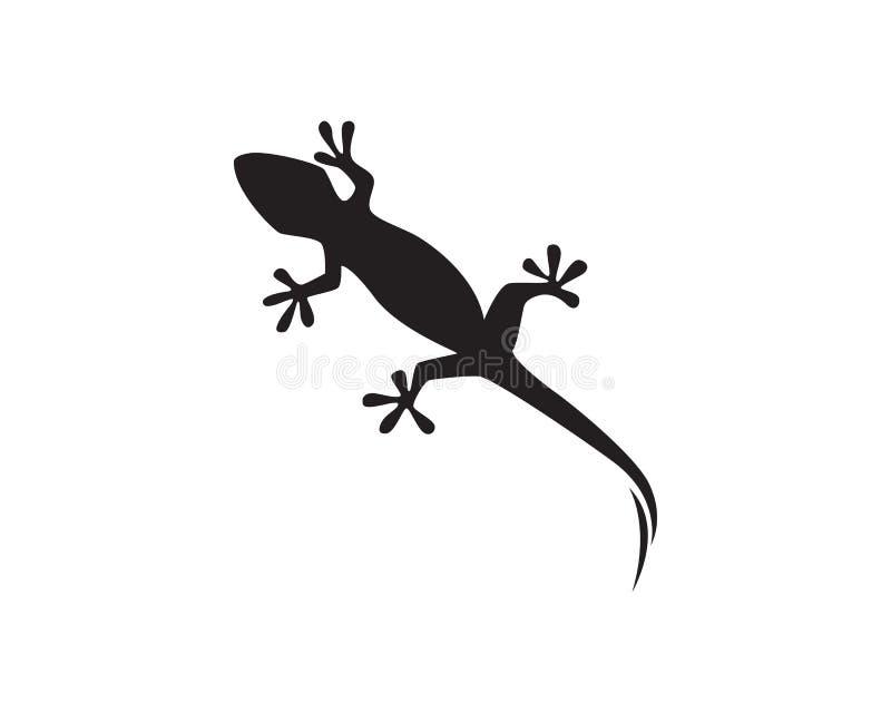 Vektor för svart för kontur för ödlakameleontgecko royaltyfri illustrationer