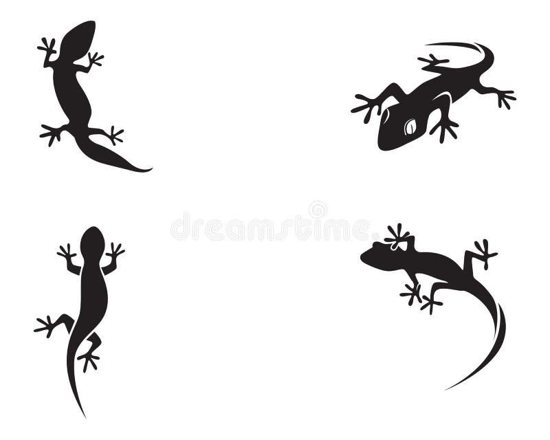 Vektor för svart för kontur för ödlakameleontgecko vektor illustrationer