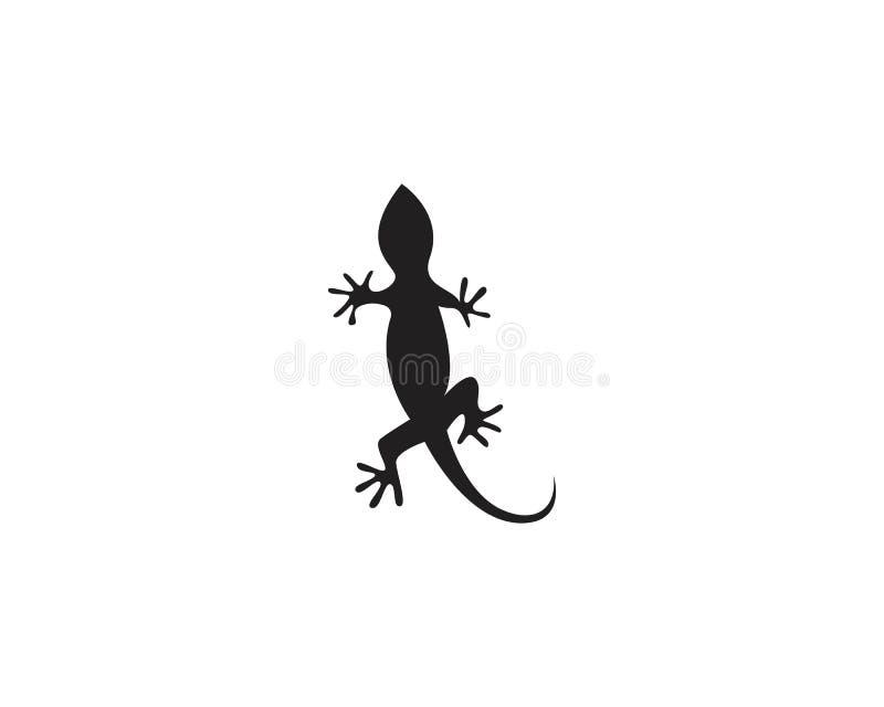 Vektor 10 för svart för kontur för ödlakameleontgecko royaltyfri illustrationer