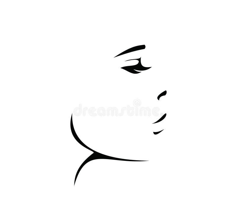 Vektor för svart kvinnaframsidasymbol, stock illustrationer