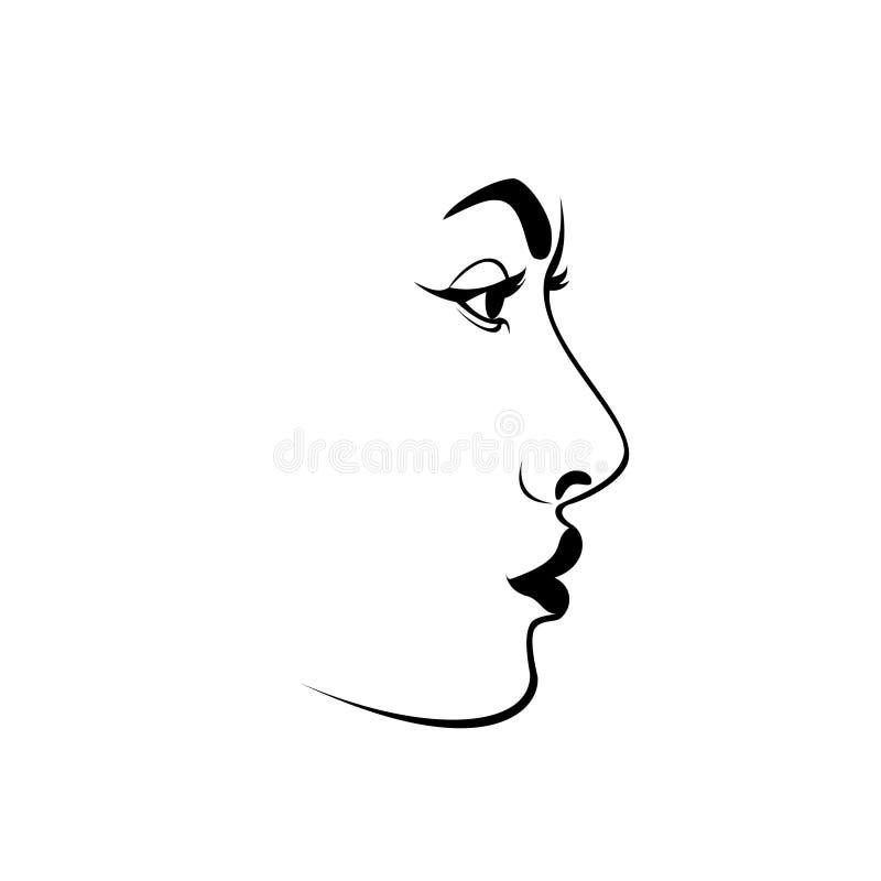 Vektor för svart kvinnaframsidasymbol, nätt flickalogo, skönhettecken, modellståendekontur stock illustrationer
