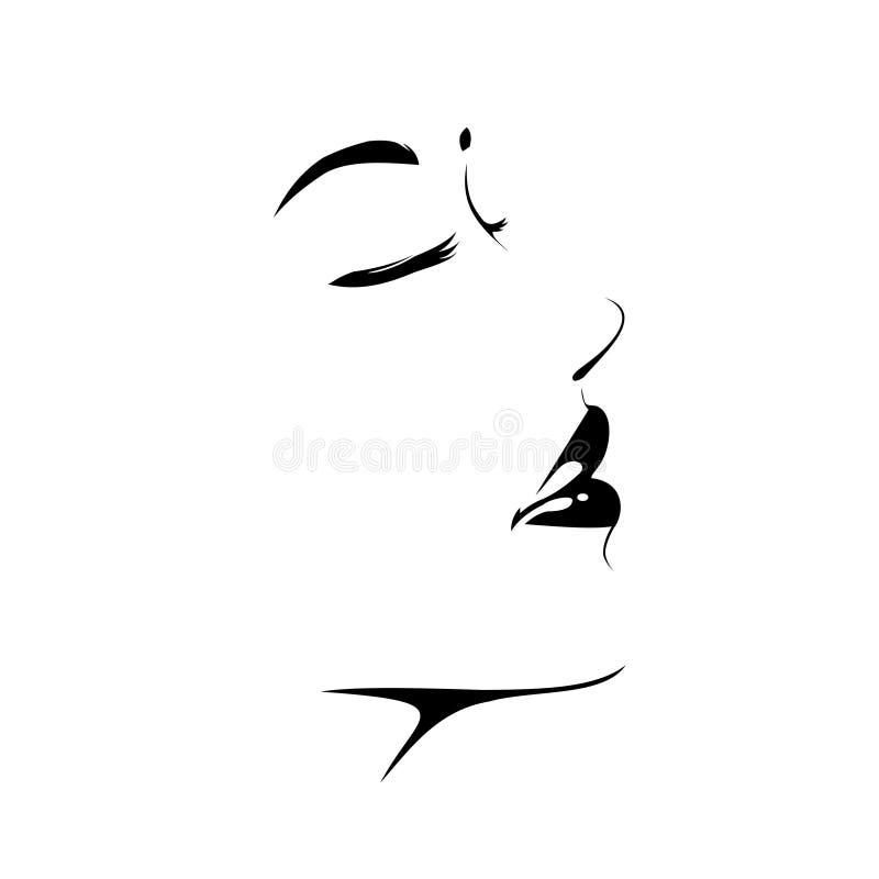Vektor för svart kvinnaframsidasymbol, nätt flickalogo, skönhettecken, ståendekontur, profil vektor illustrationer