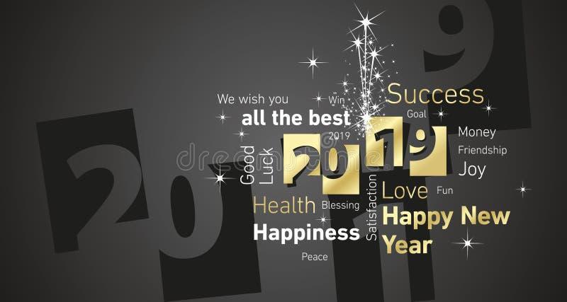 Vektor 2019 för svart för vit för negativ för utrymme för fyrverkeri för lyckligt nytt år text för moln guld- royaltyfri illustrationer