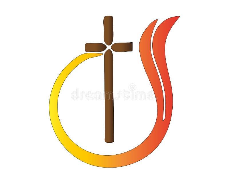 Vektor för symbol för abstrakt religion för logokorsflamma katolsk vektor illustrationer