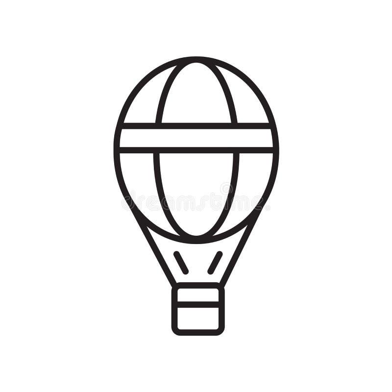 Vektor för symbol för ballong för varm luft som isoleras på vit bakgrund, tecken för ballong för varm luft, tunn linje designbest vektor illustrationer