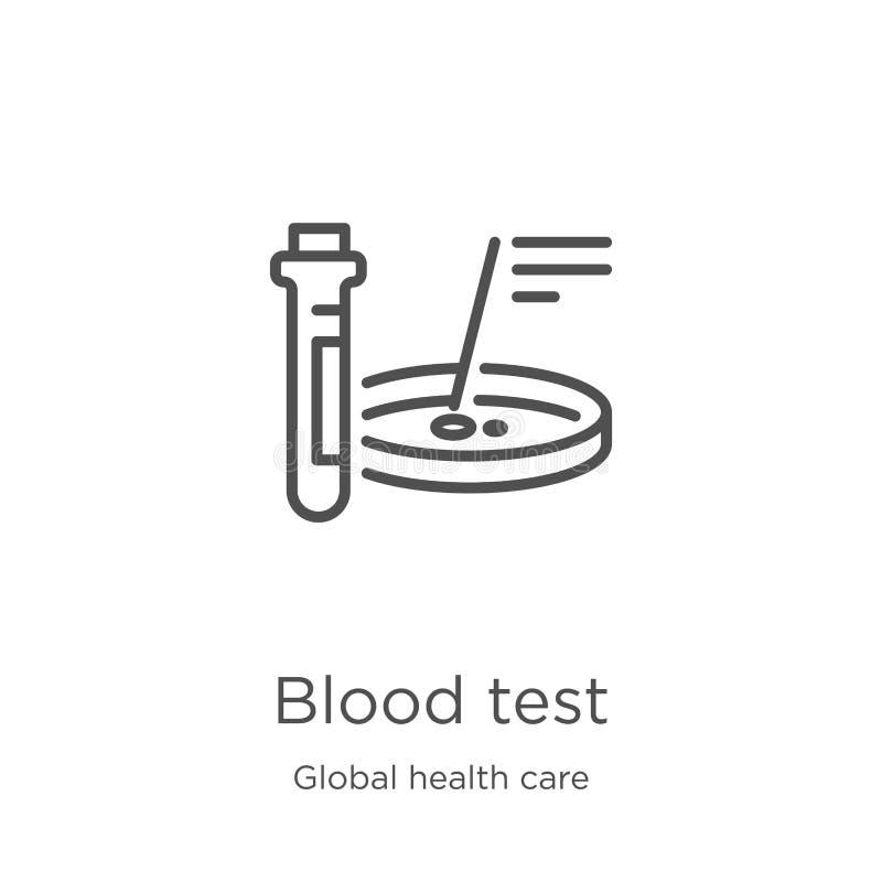 vektor för symbol för blodprov från global hälsovårdsamling Tunn linje illustration för vektor för symbol för översikt för blodpr royaltyfri illustrationer
