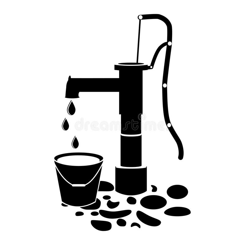 Vektor för symbol för brunn för vattenpump på vit vektor illustrationer