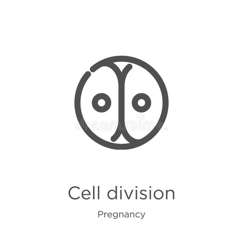 vektor för symbol för celluppdelning från havandeskapsamling Tunn linje illustration för vektor för symbol för översikt för cellu stock illustrationer